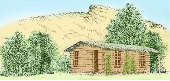 Drawing of the Josie Morris cabin.
