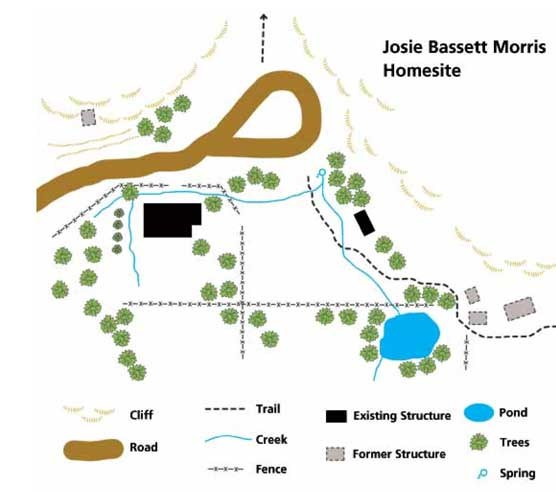 Map showing the Josie Morris cabin and surrounding buildings.