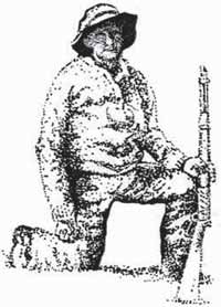 Drawing of Josie Morris holding a rifle