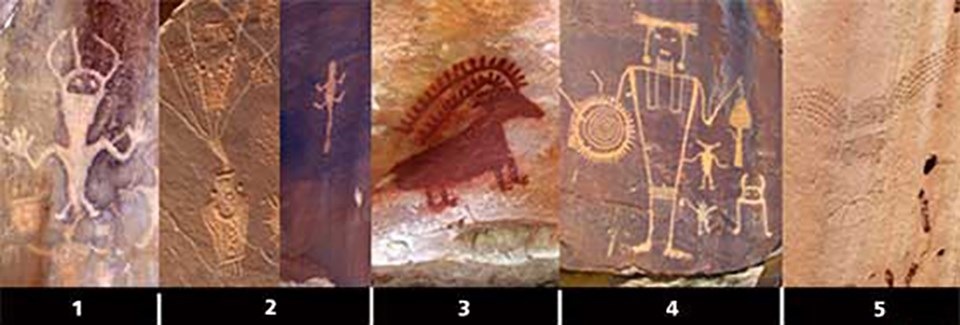 A collage of photos showing different petroglyphs and pictographs found in Dinosaur National Monument