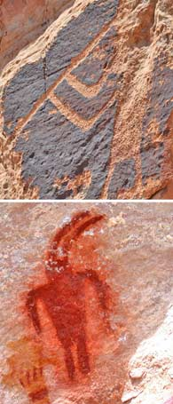 Carved pictograph in top photo; painted pictograph in bottom photo.