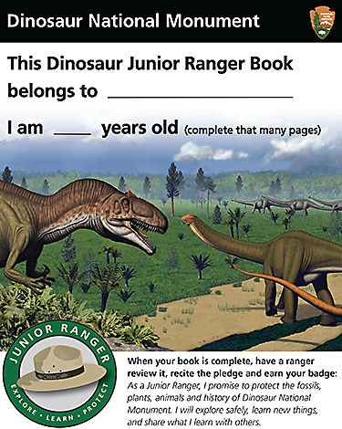 Dinosaur artwork on cover of junior ranger book