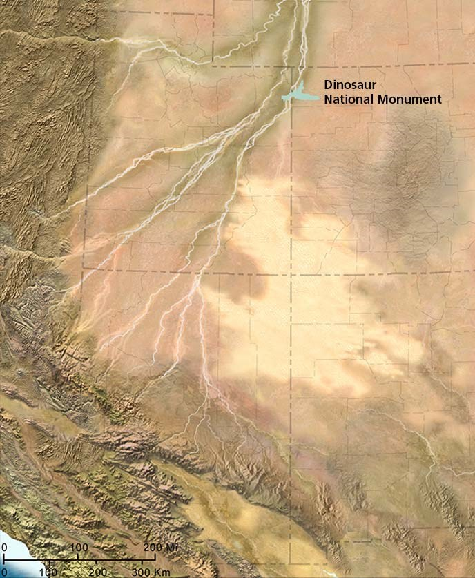Map of Colorado Plateau 149 million years ago with Dinosaur National Monument