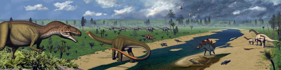 Artist depiction of what the Morrison environment may have looked like with a river and numerous dinosaurs along its banks.