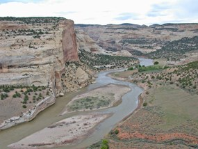 Yampa River and Castle Park as seen from Castle Park Overlook.