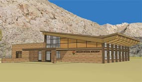Architect's drawing of the new Quarry Visitor Center.