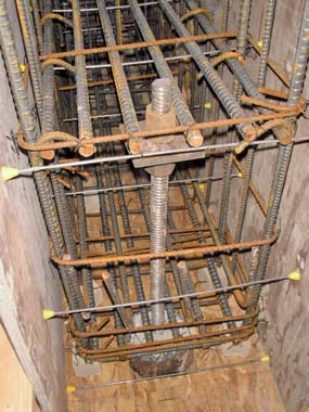 Rebar set in a wooden form.