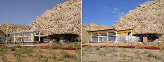 Side-by-side photos of Quarry Visitor Center construction in August and in October 2010.