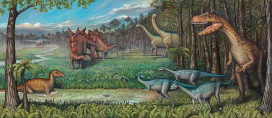 Ancient landscape with various type of dinosaurs