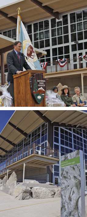 Utah Governor Gary Herbert at Quarry Exhibit Hall grand opening (top) and exterior view of the Quarry Exhibit Hall (bottom).