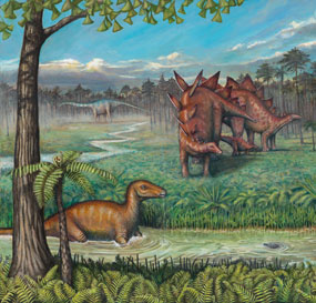 Artist Liz Bradford's painting of some of Dinosaur National Monument's Jurassic era dinosaurs and the landscape in which they lived.