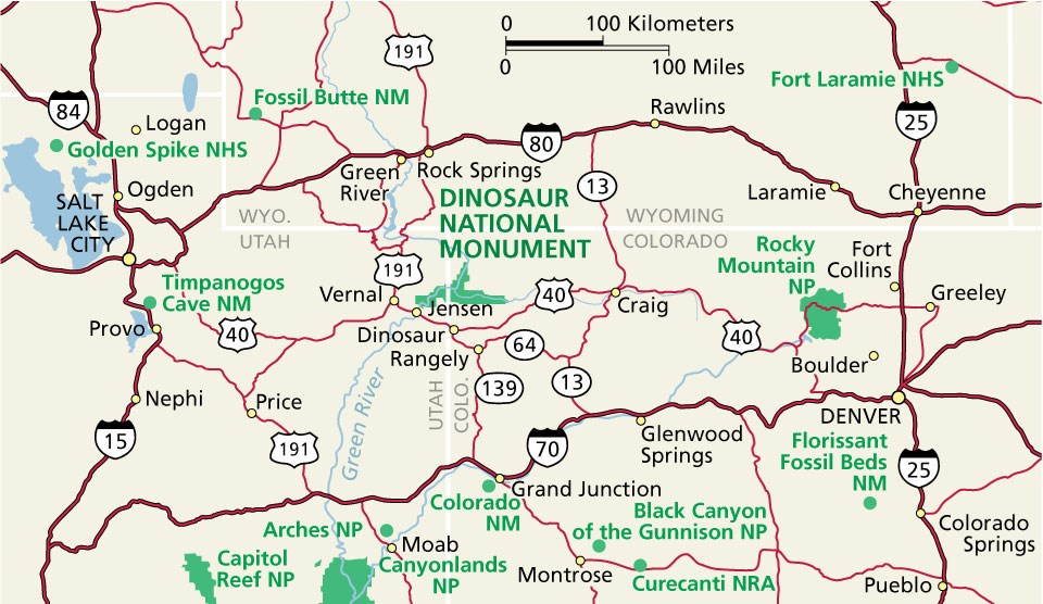 Regional map showing location of Dinosaur National Monument.
