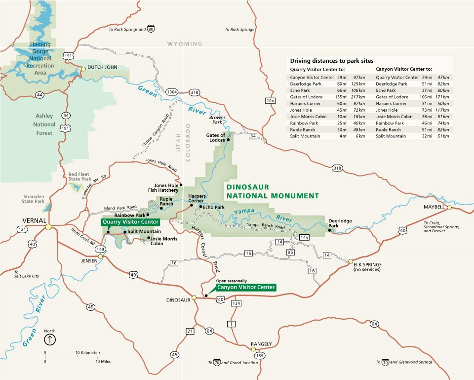 Map showing Dinosaur National Monument and the surrounding area.