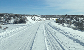 Road conditions on the Harpers Corner Road, December 17, 2015.