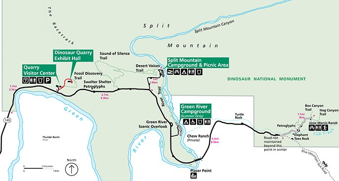 Map of the Quarry Visitor Center and Cub Creek Area