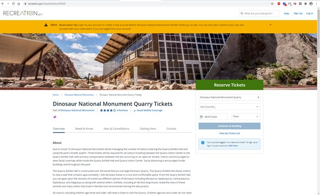 Screenshot of a web page for purchasing Quarry tickets