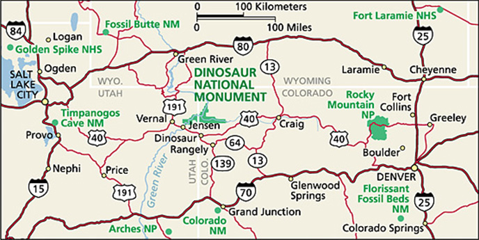 Directions Dinosaur National Monument US National Park Service - Us map showing national parks
