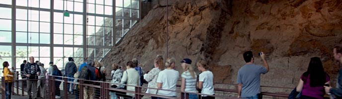 Visitors wander along the upper mezzanine at the Quarry Exhibit Hall.