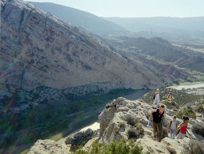 Hikers on rim of Split Mountain.