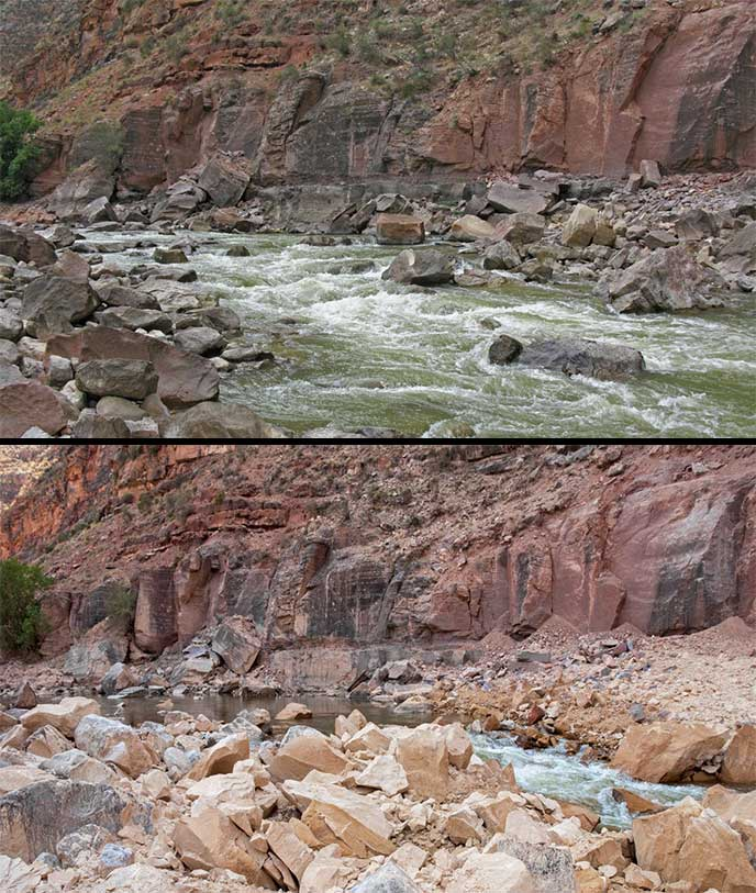 Warm Springs Rapid, before and after 2012 rockfall