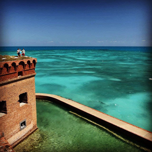 A family stands atop Fort Jefferson at Garden Key.
