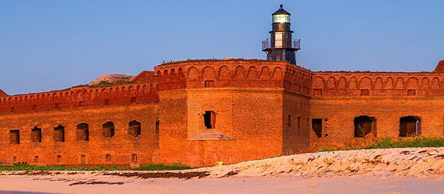 A view of Fort Jefferson from the beach.