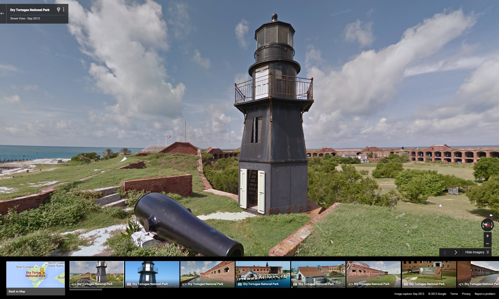 A screenshot of a view of the Dry Tortugas on Google Maps.