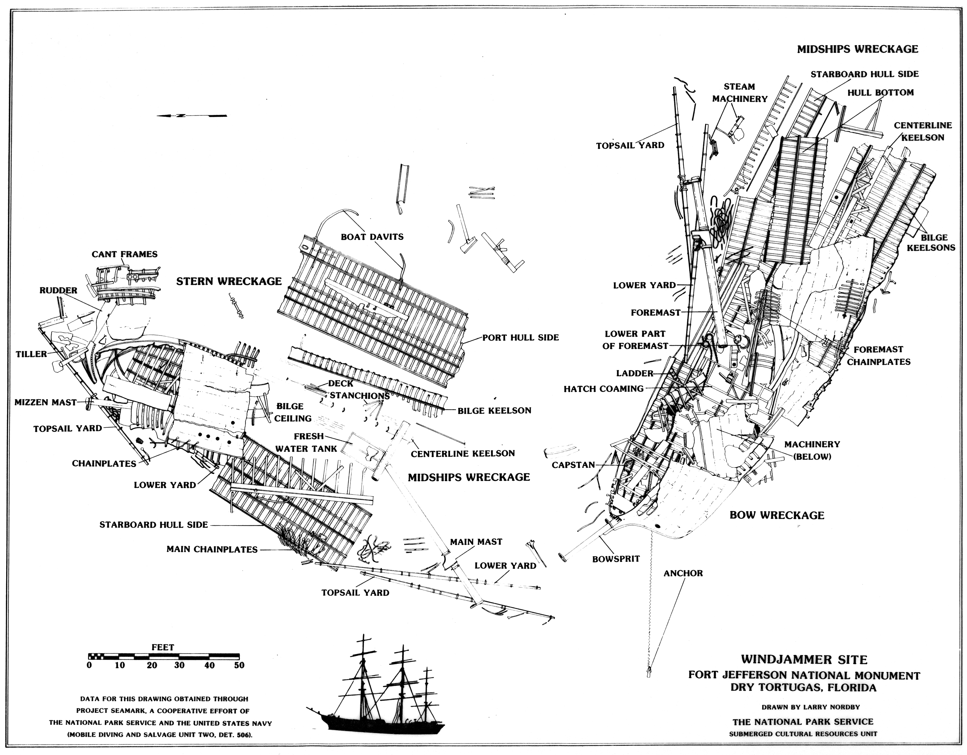 Windjammer wreck site guide