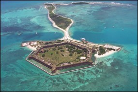 Aerial view of Fort Jefferson looking east