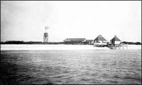Carnegie Institution Marine Biological Laboratory as viewed from the sea, May 1908