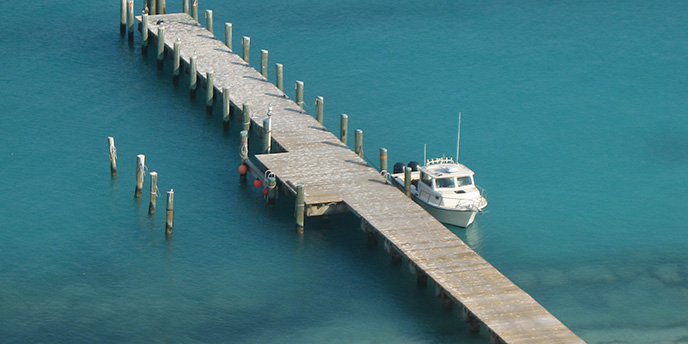 Boat docked at Dry Tortugas