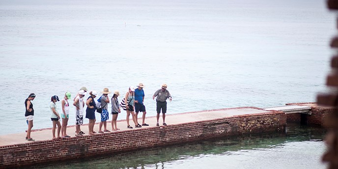 A ranger leads a program on the moat wall of Dry Tortugas National Park.
