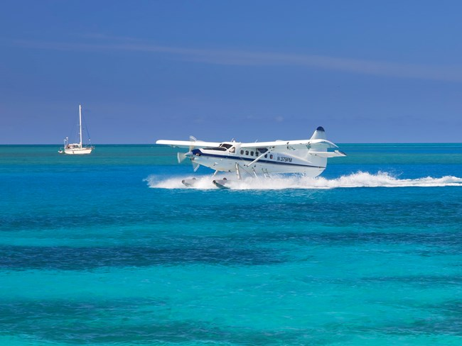 Seaplane landing in the harbor at Garden Key