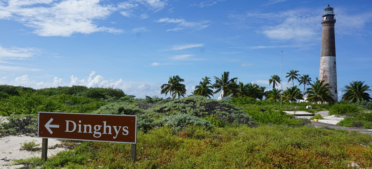 A Dinghy Beach sign standing on a beach with vegetation and a lighthouse behind it