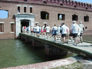 Visitors on walking fort tour