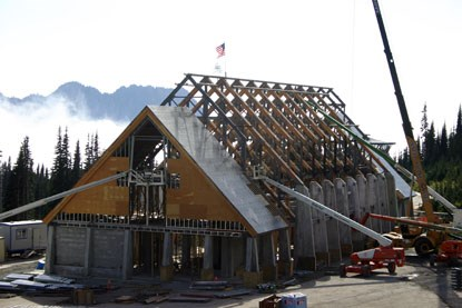 Roof Framing installation on the Henry M. Jackson Memorial Visitor Center at Mount Rainier National Park, Washington