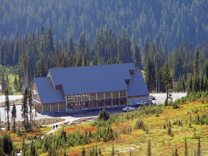 Completed Henry M. Jackson Memorial Visitor Center at Mount Rainier National Park, Washington, 2008.