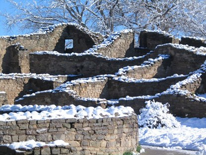photo of Ruins in the snow, Aztec Ruins National Monument