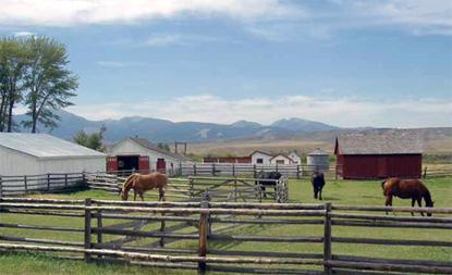 photo of corrals and outbuildings at Grant-Kohrs Ranch National Historic Site
