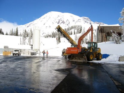 Construction staging for Henry M. Jackson Memorial Visitor Center project at Mount Rainier National Park, Washington.