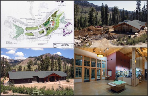 NPS Images of Kohm Yah-Mah-Nee Visitor Center: Site Plan Sketch (upper left), Construction (upper right), Exterior (lower left), Interior (lower right).