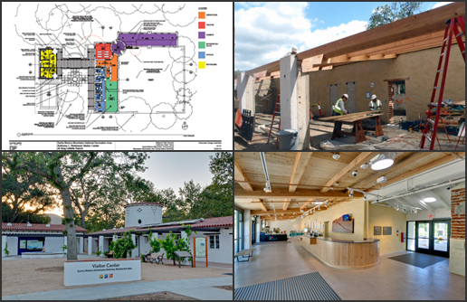NPS Images of Anthony C. Beilenson Interagency Visitor Center: Floor Plan Concept (upper left), Construction (upper right), Exterior (lower left), Interior (lower right).