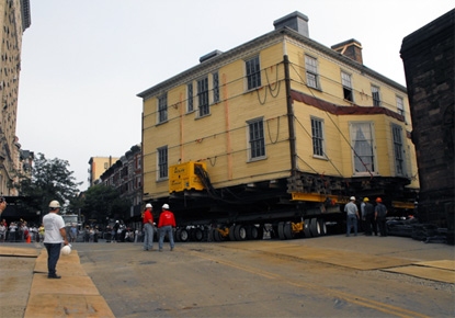 photo of Hamilton Grange National Memorial being moved to its new location in St. Nicholas Park (New York)