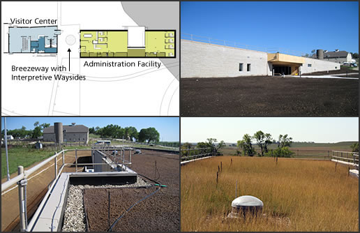 "NPS Images of Visitor Center and Administration Facility: Early Concept Floor Plan (upper left), Construction (Historic Spring Hill Ranch in background) (upper right), ""Green Roof"" before Seeding (Historic Spring Hill Ranch in background) (lower left), ""Green Roof"" 1st Growing Season (lower right)."