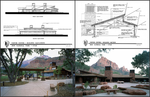NPS Images of Zion Canyon Visitor Center: Building Elevations (upper left), Building Section (upper right), Exterior - side view (lower left), Exterior - front view (lower right).