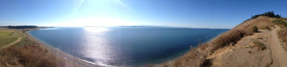 Looking across the water to the Olympic Peninsula from the Bluff Trail.