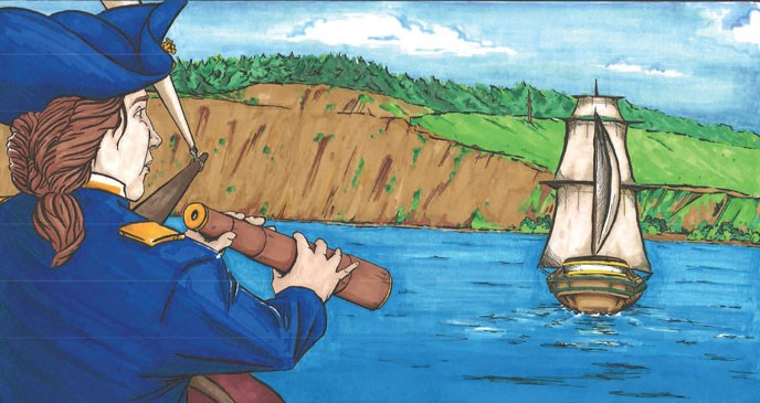 Drawing of Sea Captain with spyglass looking at Ebey's Landing