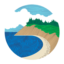 Circular Logo for Ebey's Landing, shows an illustration of the bluff with ocean waves and clouds