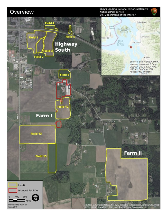 Overhead view of farmland available for leasing.