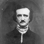 Black and white photo of Edgar Allan Poe, showing a man with a large forehead, dark hair and mustache, facing the camera.
